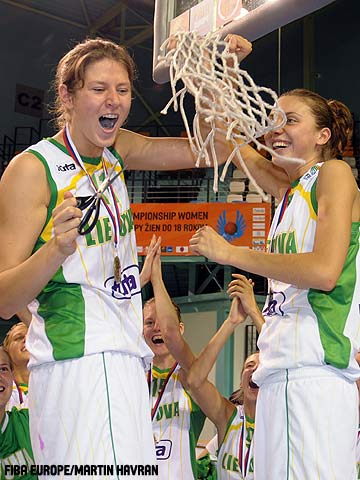 Lithuania cut down the nets.